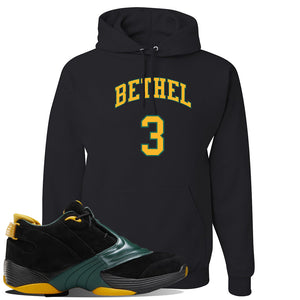 Answer 5 Bethel High Sneaker Black Pullover Hoodie | Hoodie to match Reebok Answer 5 Bethel High Shoes | Bethel 3 Arch