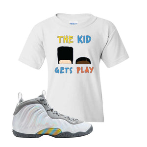 Lil Posite One Rainbow Pixel Kids T Shirt | White, The Kids Get Play