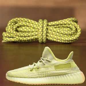 The neon yellow yeezy matching sneaker rope shoe laces matching the Yeezy Boost 350 V2 Antlia