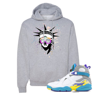 Air Jordan 8 WMNS White Aqua Sneaker Hook Up Liberty Head Athletic Heather Hoodie