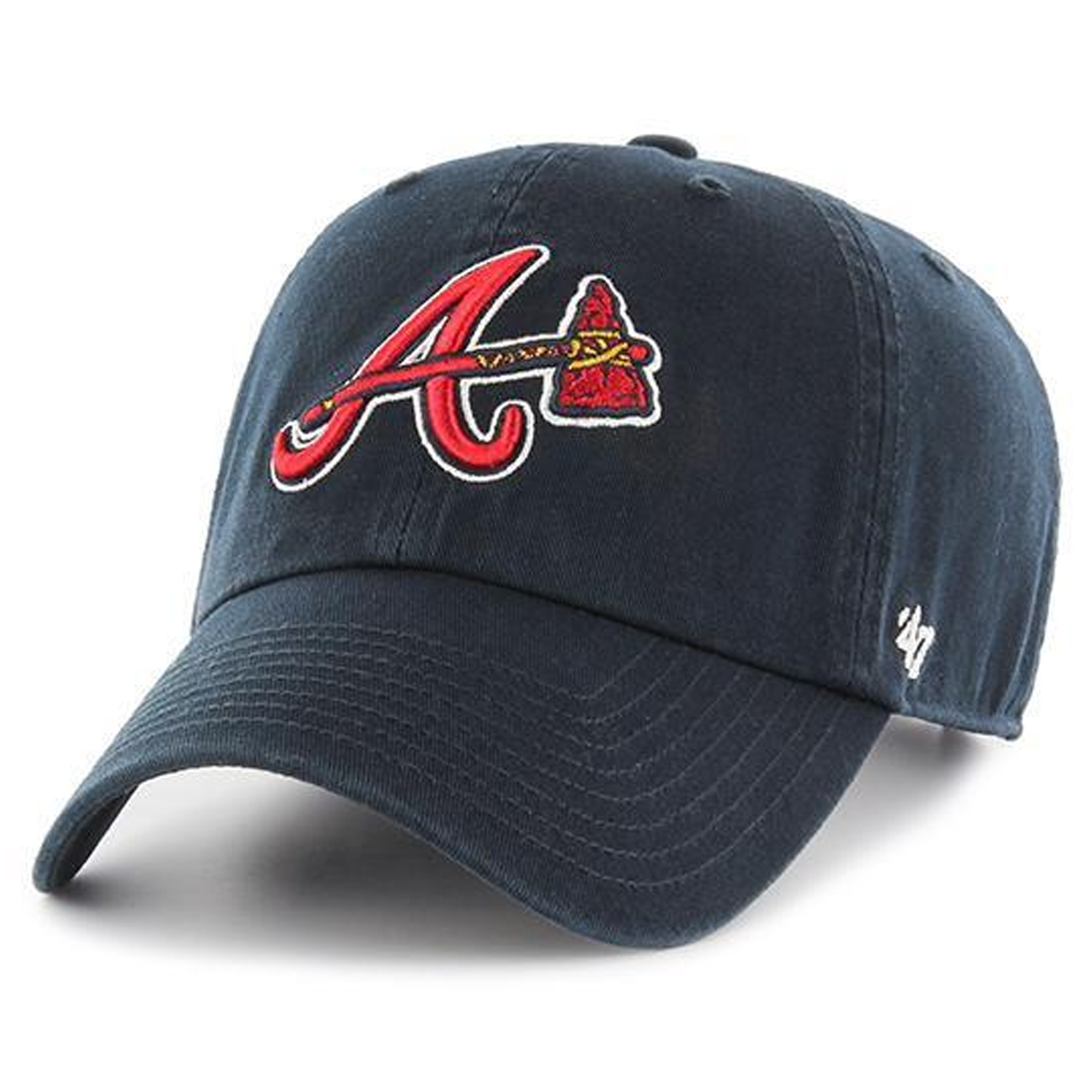 on the front of the navy blue atlanta braves dad hat is the atlanta braves  logo 31979eeec62