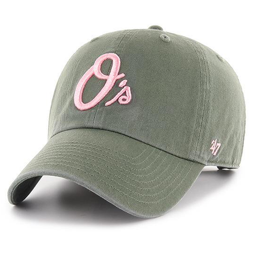 on the front of the olive green and pink women's dad hat is the orioles logo embroidered in pink