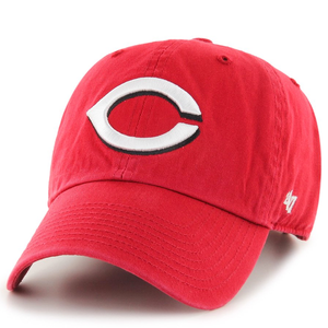 on the front of the cincinnati reds clean up dad hat is the cincinnati reds logo embroidered in white and black with the '47 brand logo embroidered on the left side in white