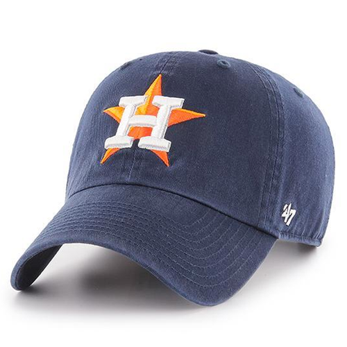 on the front of the navy blue houston astros dad hat is the houston astros logo embroidered in white and orange