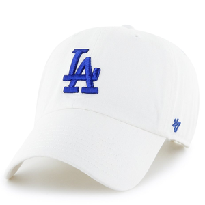 on the front of the Los Angeles Dodgers white ball cap is the Los Angeles Dodgers logo embroidered in blue