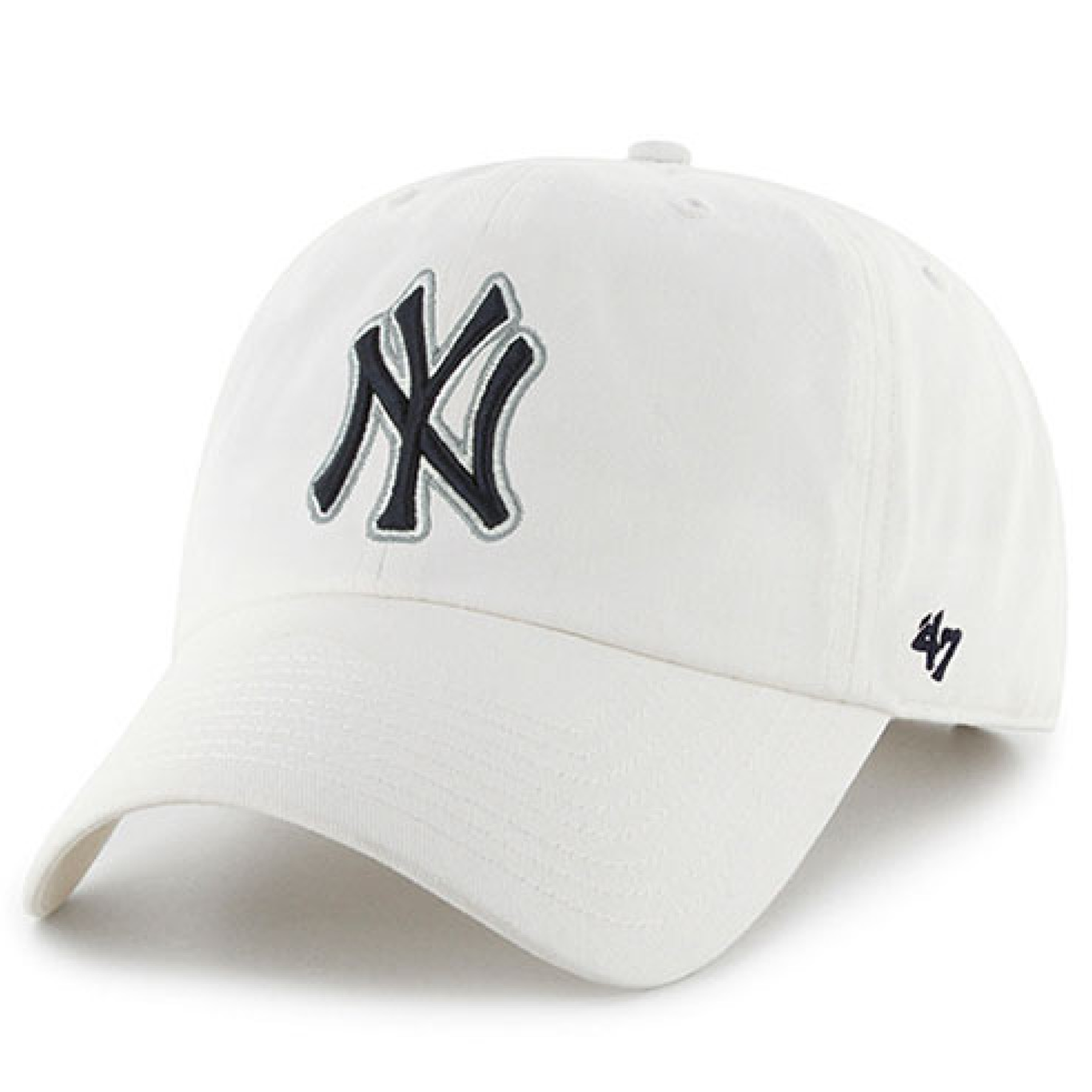 super popular 0f406 64adf On the front of the white new york yankees clean up dad hat is the yankees