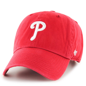 on the front of the women's philadelphia phillies red dad hat is the philadelphia phillies logo embroidered in white