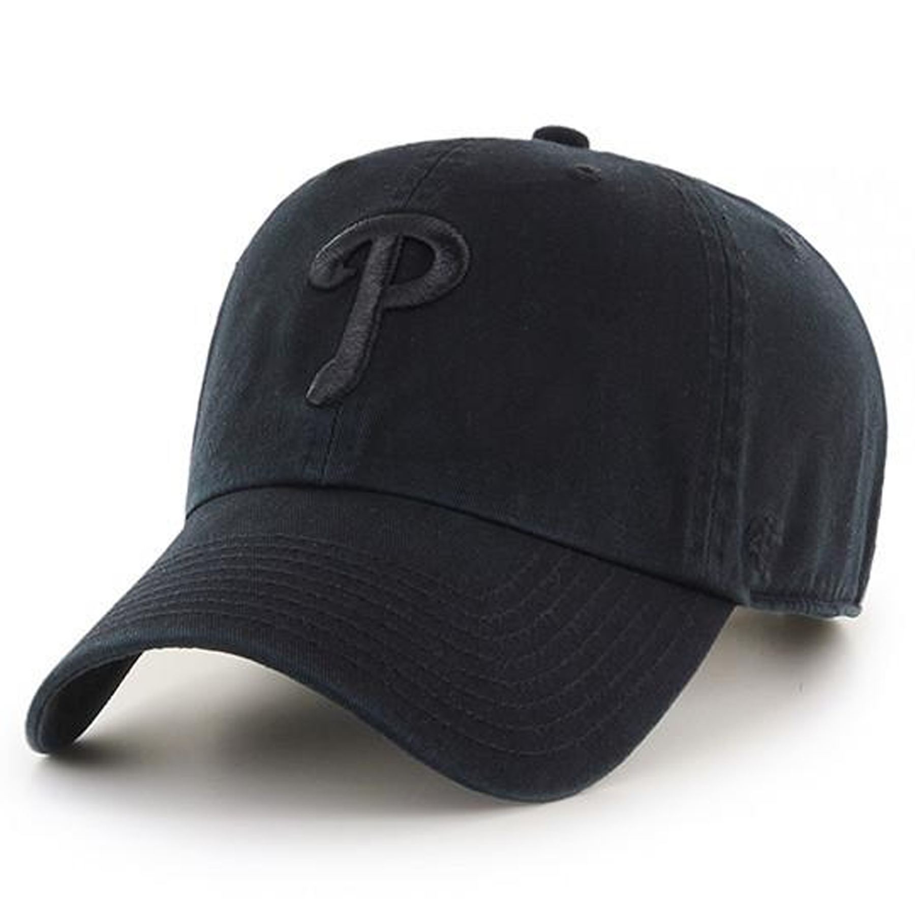 99f80d4916349 on the front of the black on black philadelphia phillies dad hat is the  philadelphia phillies