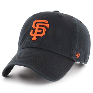 on the front of the san Francisco giants black clean up adjustable dad hat is the san francisco wordmark logo embroidered in orange