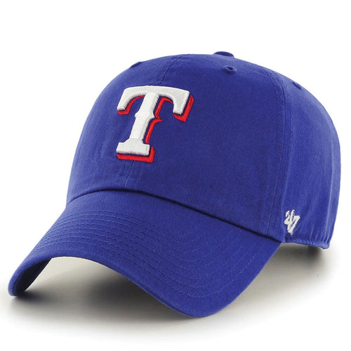 on the front of the texas rangers royal blue clean up dad hat is the rangers logo embroidered in white and red