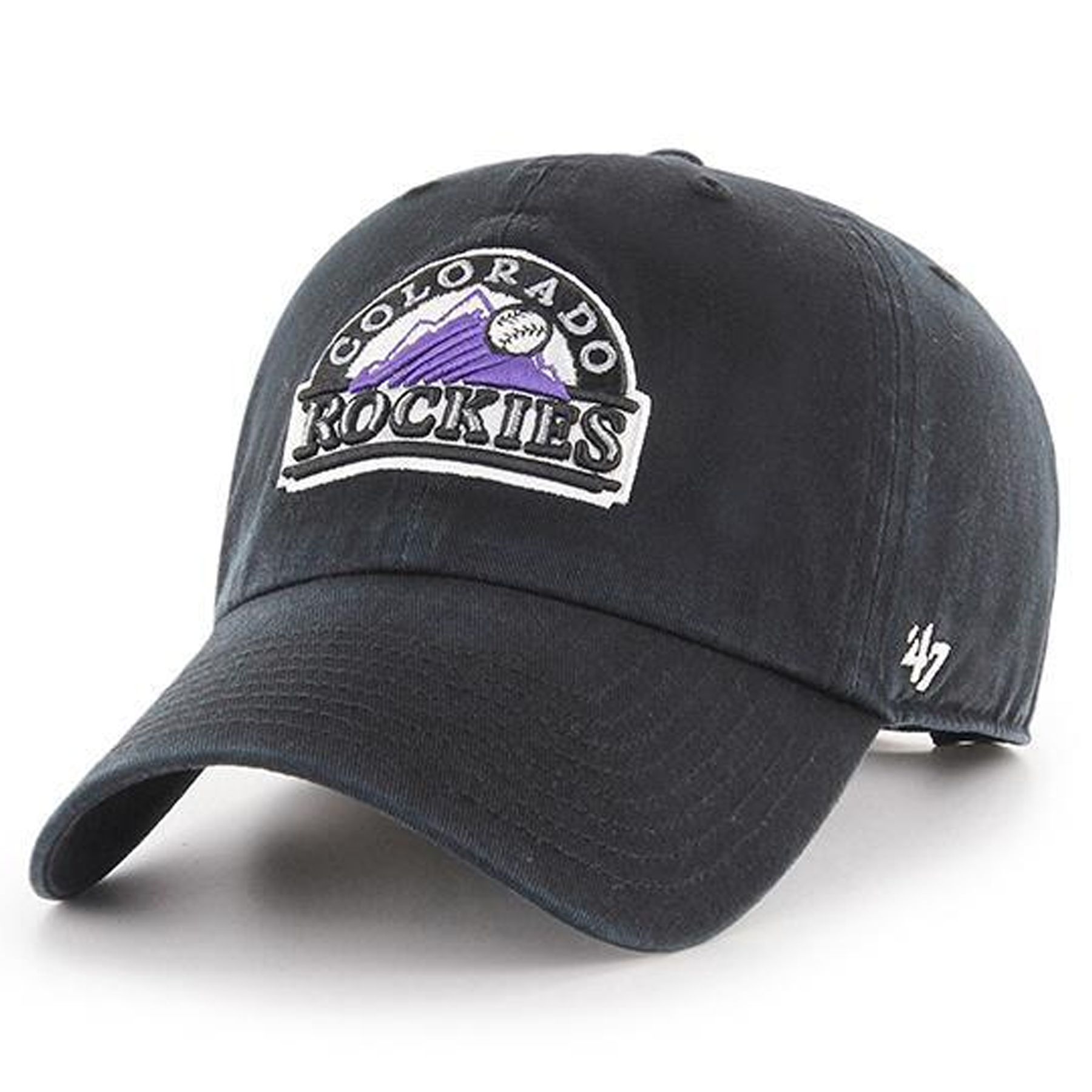 new product 9d536 0bc88 On the front of the vintage colorado rockies dad hat is the throwback colorado  rockies logo