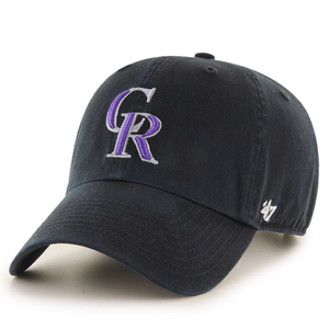 on the front of the colorado rockies black dad hat is the colorado rockies logo embroidered in purple and silver