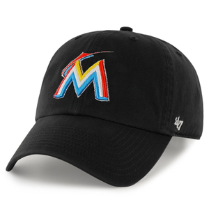 on the front of the miami marlins black dad hat is the miami marlins logo embroidered in orange, white, and sky blue