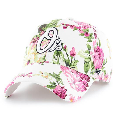 on the front of the floral baltimore orioles dad hat is the baltimore orioles O's logo embroidered in white and black