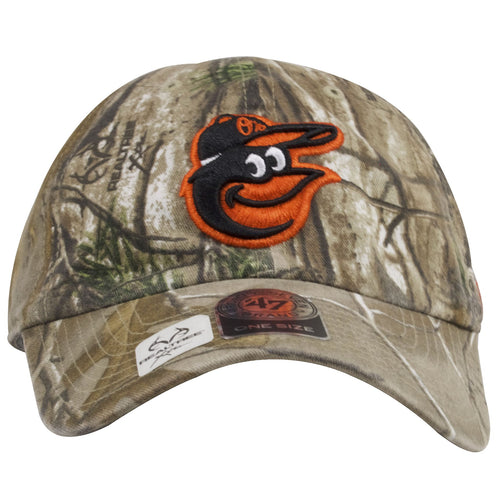 The front of this Baltimore Orioles Realtree Camo dad hat shows the fully embroidered Baltimore Orioles logo in orange and black.
