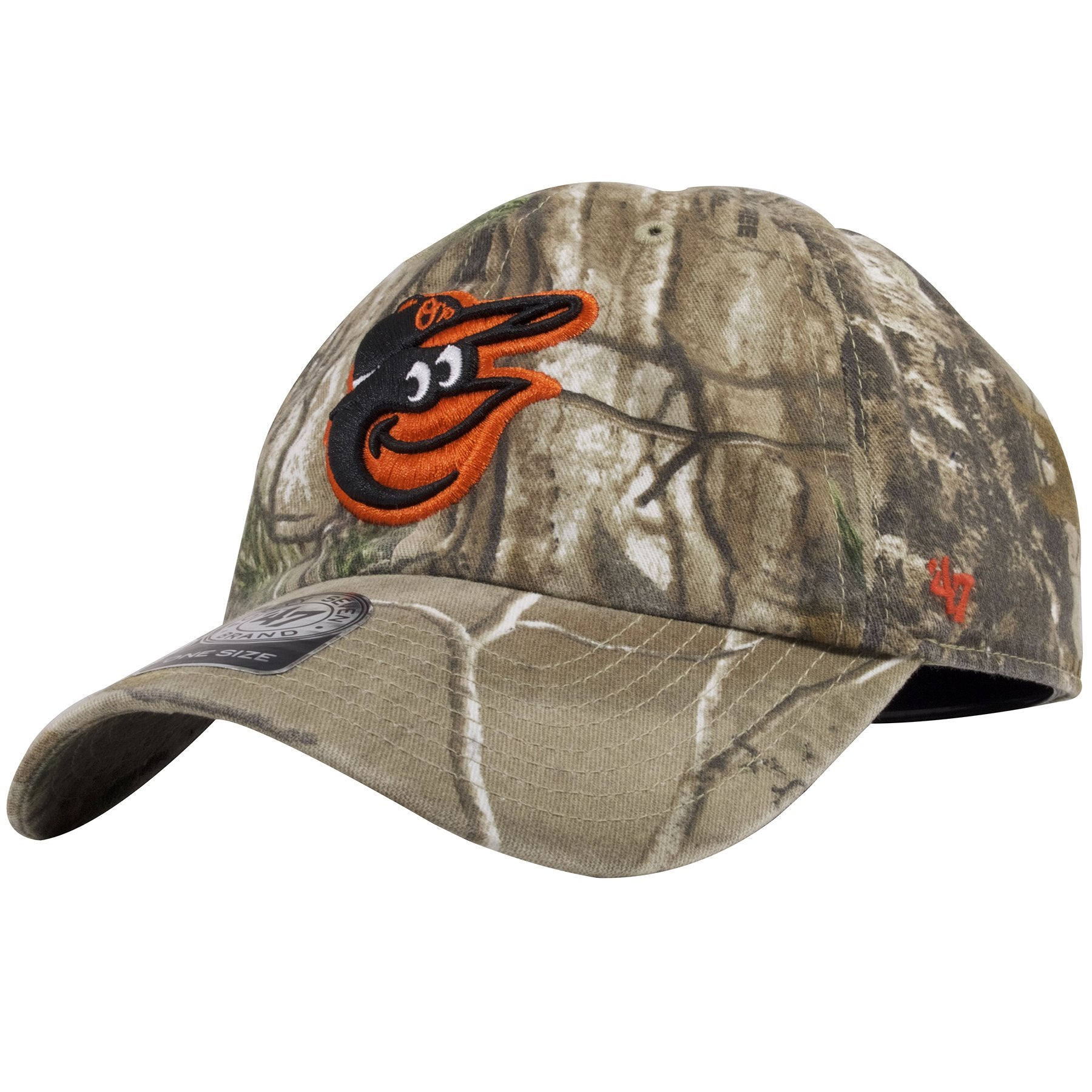 ... The left side of this Realtree Camo Baltimore Orioles dad hat is an  orange 47 brand ... 86473953a55