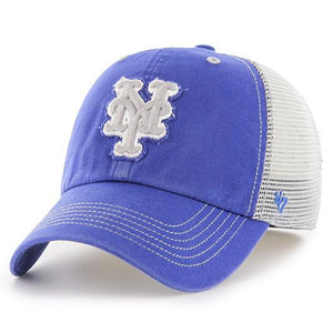 on the front royal blue new york mets mesh back stretch fit cap is the new york mets logo embroidered in gray and white