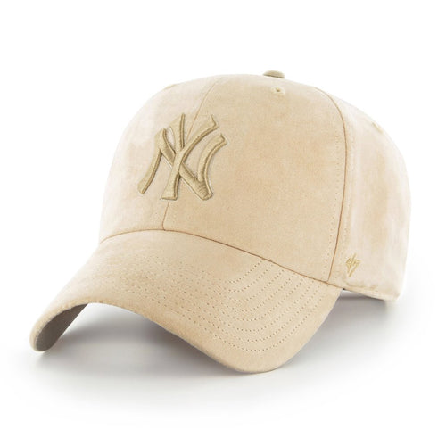 on the front of the new york yankees tonal ultra basic dad hat is the yankees logo embroidered in tonal khaki