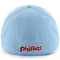 on the back of the low crown vintage philadelphia phillies franchise fitted cap is the old school philadelphia phillies wordmark embroidered in maroon and white