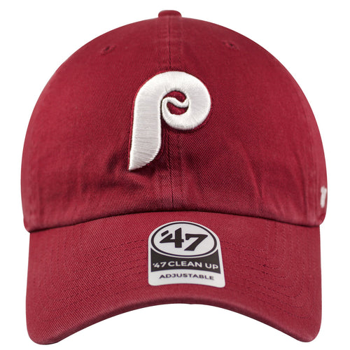 6d2563c684fa3 on the front of the philadelphia phillies vintage maroon cooperstown dad hat  is a white philadelphia