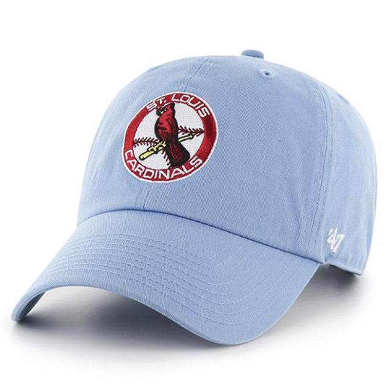 on the front of the st. louis cardinals light blue vintage dad hat is the ebcdcc77516