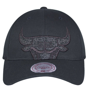 on the front of the Chicago Bulls Retro Air Jordan 3 Black Cat Sneaker Matching Snapback Hat the Chicago Bulls logo is embroidered with black stitching and a Black Cat Jordan 3 pattern