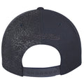 on the back of the air jordan 3 black cat sneaker matching snapback hat, is a black mitchell and ness logo and a black adjustable snap