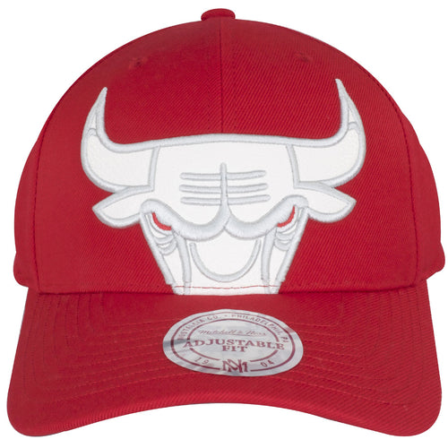 The front of this Air Jordan 3 dad hat shows a white Chicago Bulls logo in a large size, the bottom half of the Chicago Bulls logo is cut off where the base of the hat and the bill meets.
