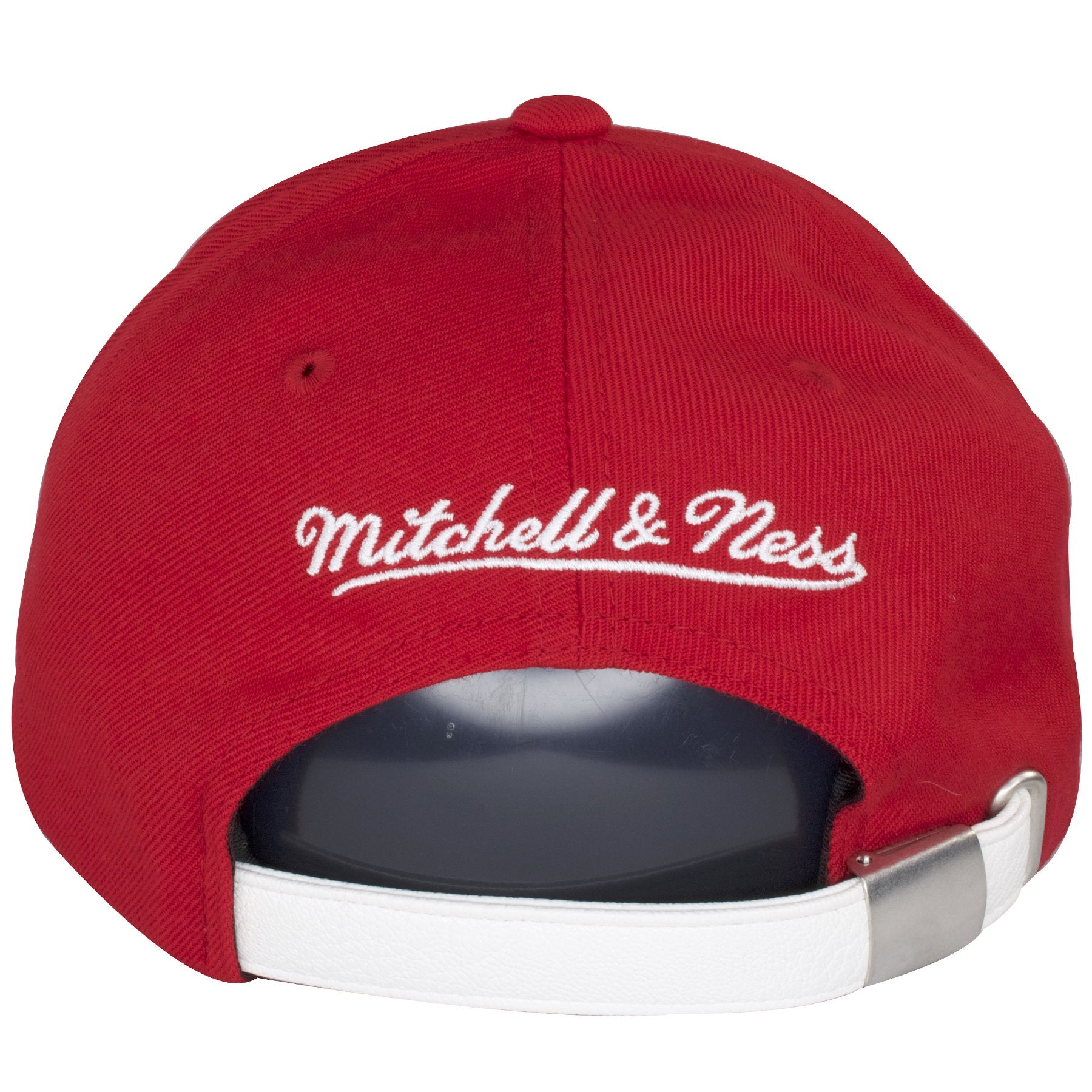 de9c0c552ab ... The back of this Red Chicago Bulls hat shows the Mitchell and Ness logo  embroidered on ...