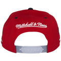 The back of this Win Like 96 Snapback hat shows the Mitchell and Ness embroidered in white threading.