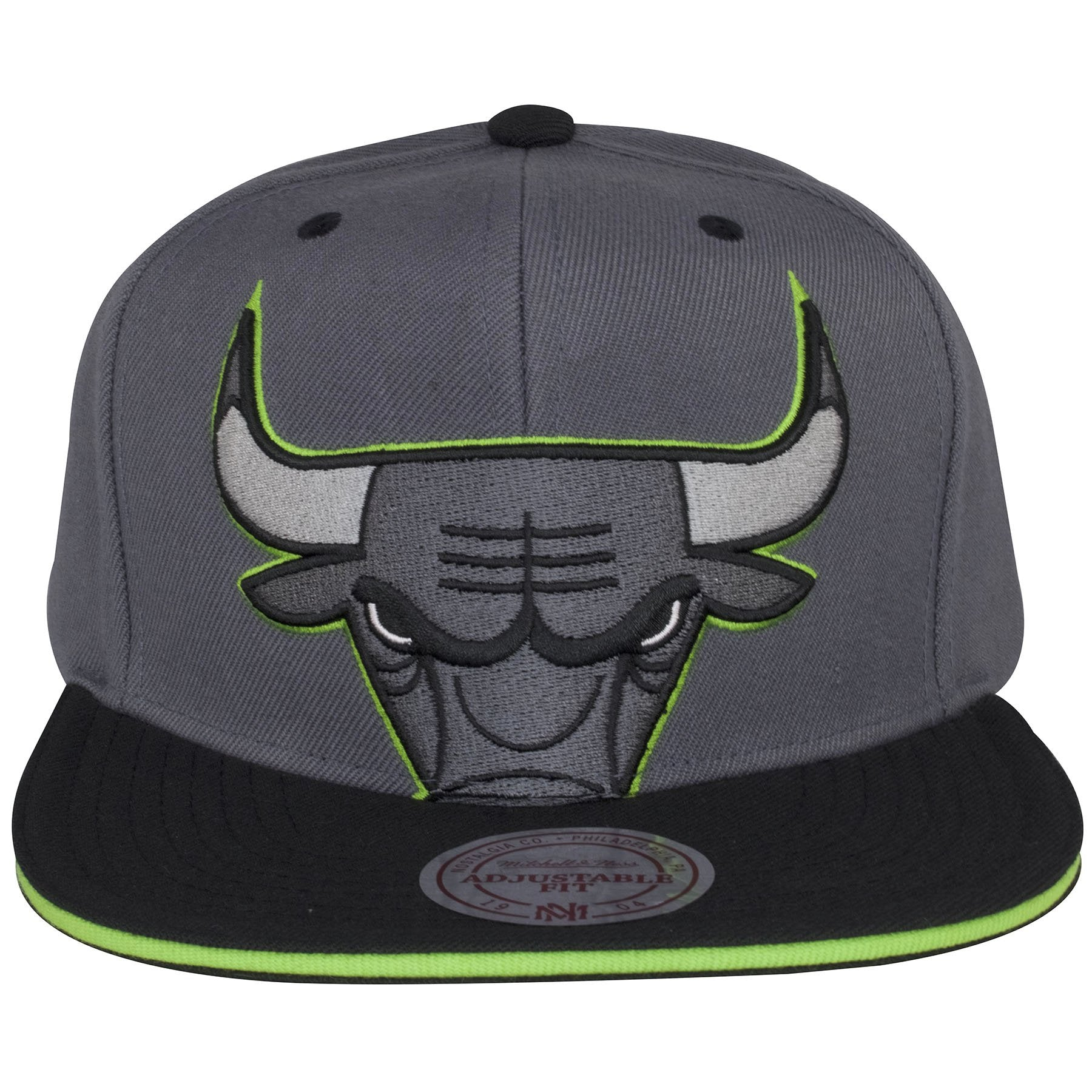 The Chicago Bulls logo on the front of this Air Jordan 13 snapback hat is  outlined 75b43868c41