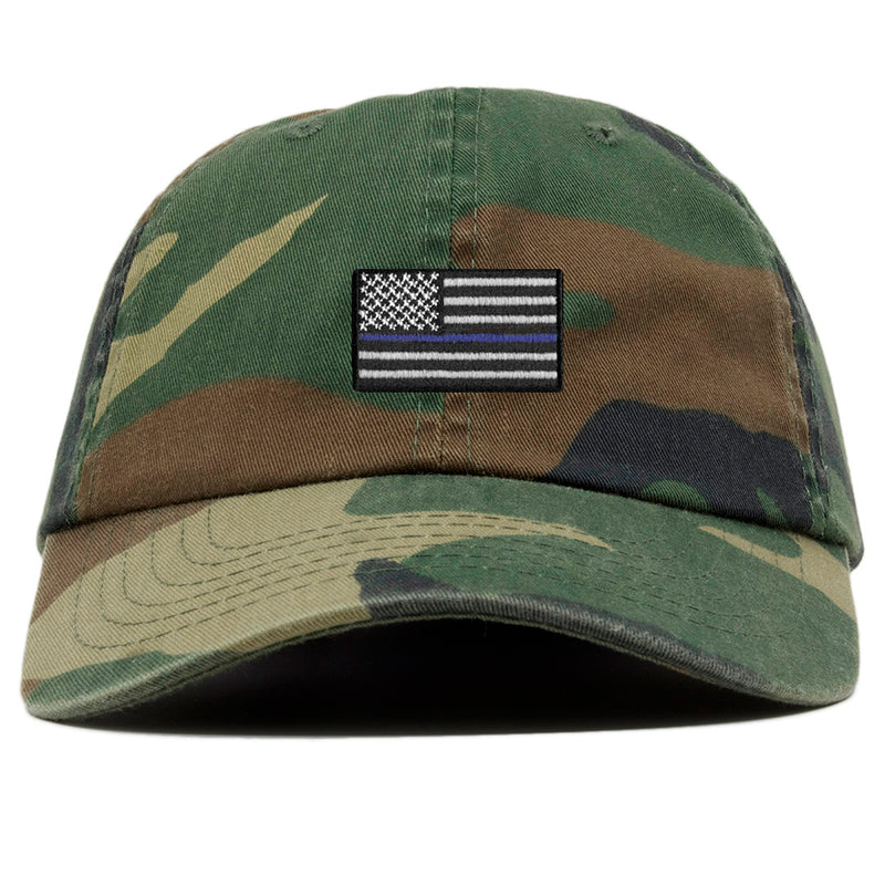 The front of the camouflage Police Lives Matters Blue Lives Matters baseball cap has a camouflage, blue, and white Thin Blue Line United States of America flag embroidered on the front.