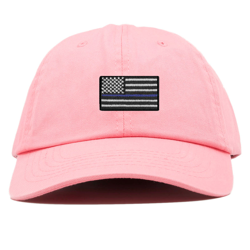 The front of the pink Police Lives Matters Blue Lives Matters baseball cap has a pink, blue, and white Thin Blue Line United States of America flag embroidered on the front.