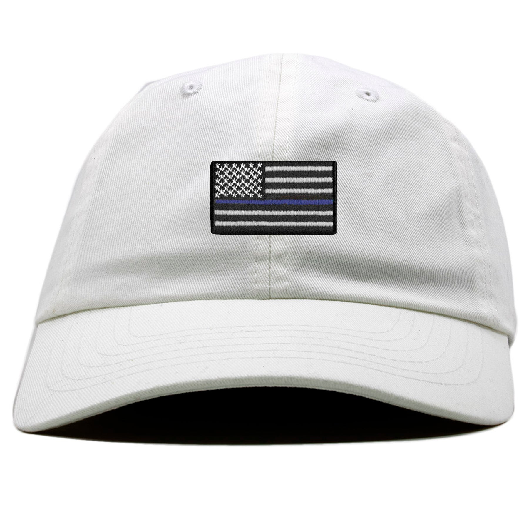 The front of the white Police Lives Matters Blue Lives Matters baseball cap  has a white 71a4885cfb35