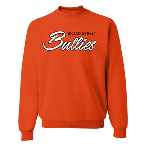 Broad Street Bullies Crewneck Sweatshirt | Broad Street Bullies Orange Crewneck Sweatshirt the front of this crewneck has the bullies script