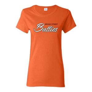 Broad Street Bullies Women's T-Shirt | Broad Street Bullies Orange Women's T-Shirt the front of this women's t-shirt has the bullies script