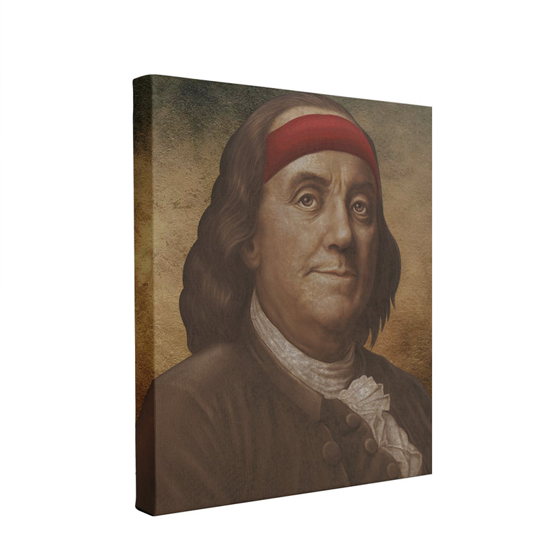 Ben Franklin Sweatband Canvas | Ben Franklin Sweat Band Wall Canvas this canvas has ben franklin with a sweatband on