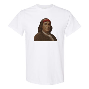 Ben Franklin Sweatband T-Shirt | Ben Franklin Sweat Band White T-Shirt the front of this t-shirt has ben franklin with a sweatband on