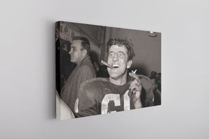 Bednarik Retro Canvas | Chuck Bednarik Smoking Photo Vintage Wall Canvas the front of this canvas has the chuck bednarik smoking photo