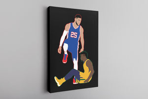 Simmons Step Over Canvas | Ben Simmons Step Over Black Wall Canvas the front of this canvas has the simmons stepover