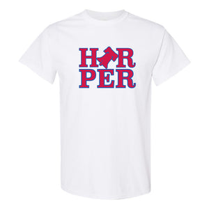 Harper Bell T-Shirt | Bryce Harper Bell White T-Shirt the front of this shirt has the bryce bell logo on it