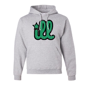 ILL Logo Pullover Hoodie | ILL Logo Ash Pull Over Hoodie the front of this hoodie has the green and black ill design