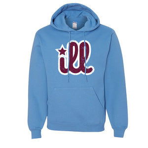 ILL Logo Pullover Hoodie | ILL Logo Carolina Blue Pull Over Hoodie the front of this hoodie has the maroon and white design on it
