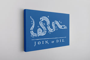 Join Or Die Canvas | Join Or Die Royal Blue Wall Canvas the front of this canvas has the join or die design
