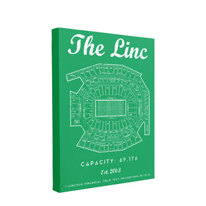 The Linc Seating Chart Canvas | The Linc Seat Map Kelly Green Wall Canvas this canvas has the linc seating chart on it