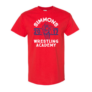 Simmons Wrestling Academy T-Shirt | Ben Simmons Wrestling Academy Red T-Shirt the front of this shirt has the ben simmons wrestling design on it