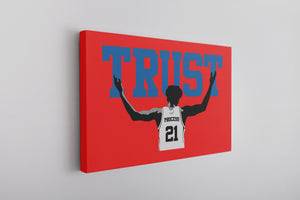 Trust The Process Canvas | The Process Red Wall Art this trust the process canvas has the word trust and embiid below him