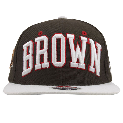 on the front of the brown university bears snapback hat is the word brown embroidered in white and red