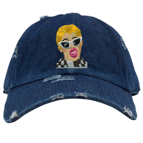 embroidered on the front of the bardi denim distressed dad hat is the bardi logo embroidered in yellow, tan, black, white and pink