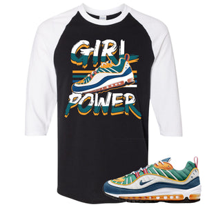 Nike WMNS Air Max 98 Multicolor Sneaker Hook Up Girl Power With Shoe Black and White Raglan T-Shirt